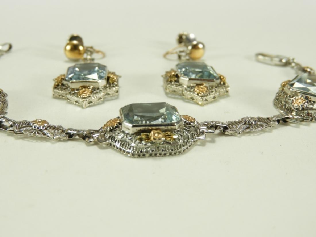 FINE Art Deco 14K Gold Aquamarine Bracelet Suite - 3