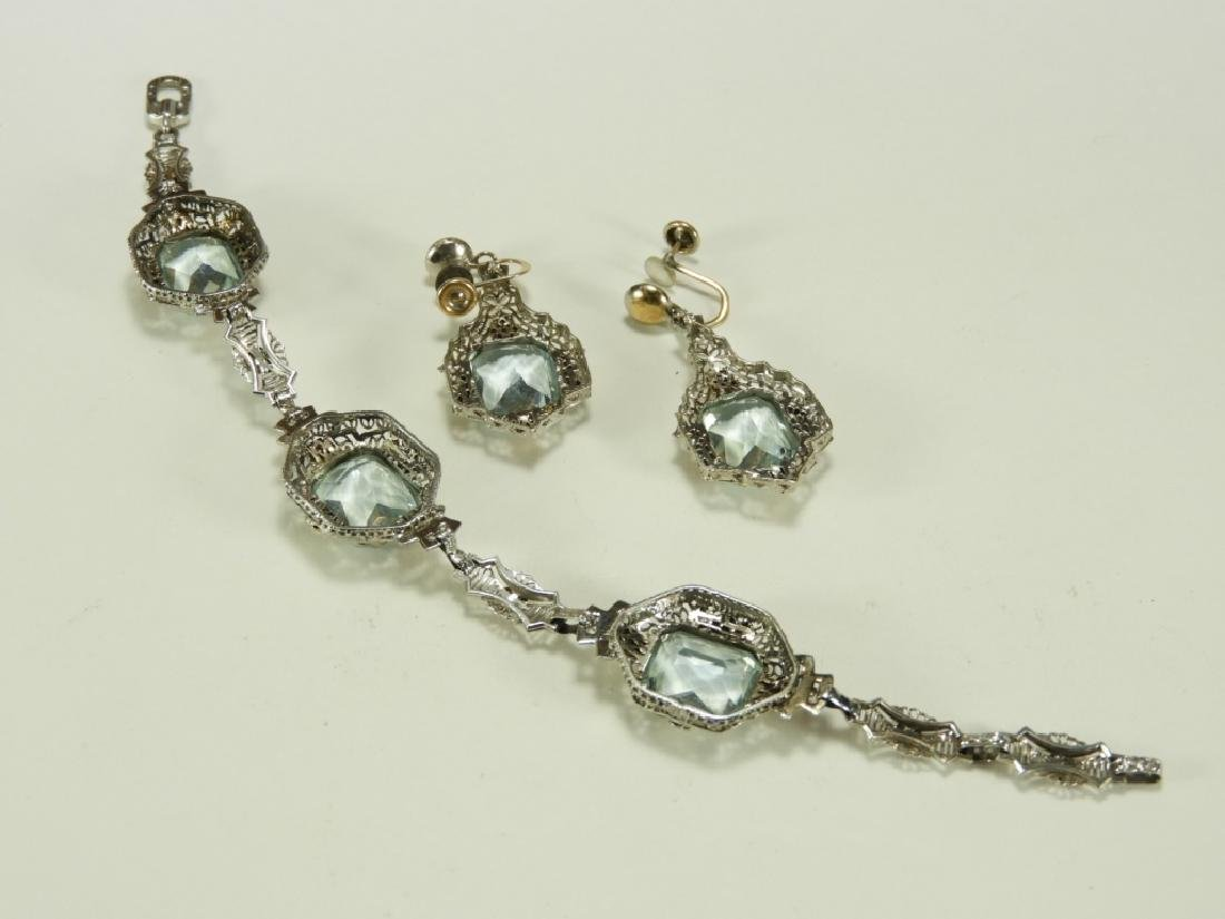 FINE Art Deco 14K Gold Aquamarine Bracelet Suite - 4