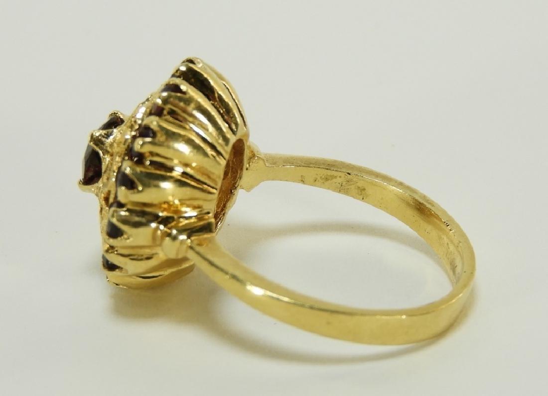 Victorian 18K Yellow Gold Garnet Lady's Ring - 5