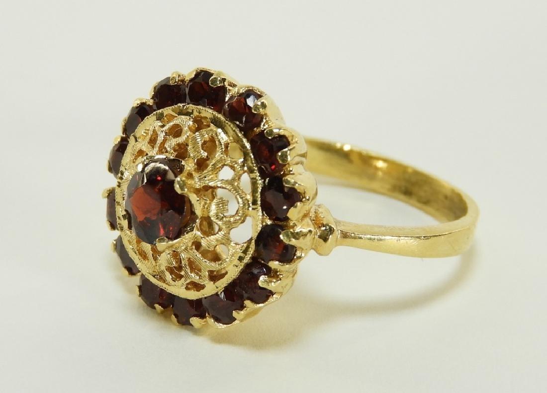 Victorian 18K Yellow Gold Garnet Lady's Ring - 6