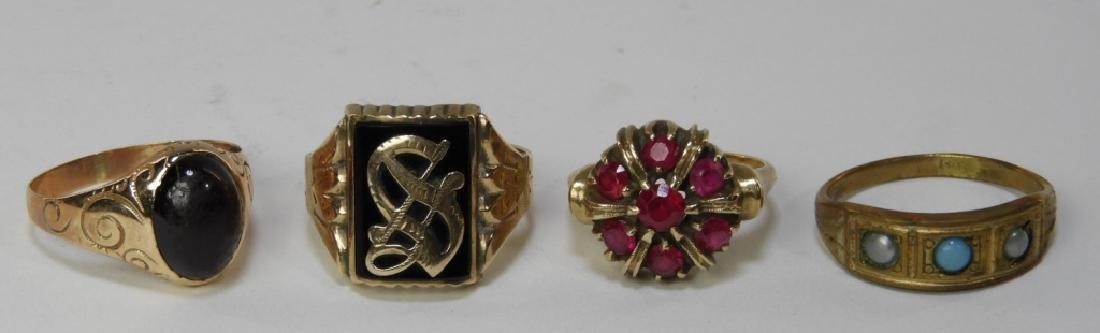 4PC Victorian Estate 10K to 14K Gold Ring Group