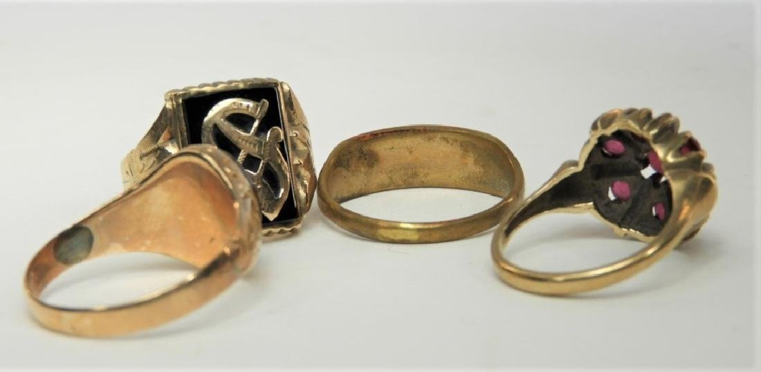 4PC Victorian Estate 10K to 14K Gold Ring Group - 5