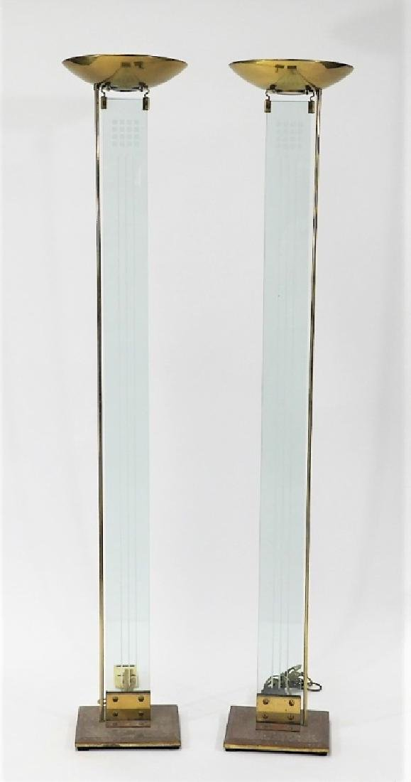 PR Italian MCM Brass Glass Designer Torchiere Lamp
