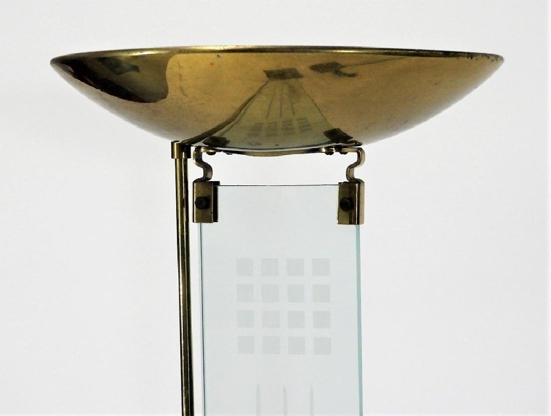 PR Italian MCM Brass Glass Designer Torchiere Lamp - 2