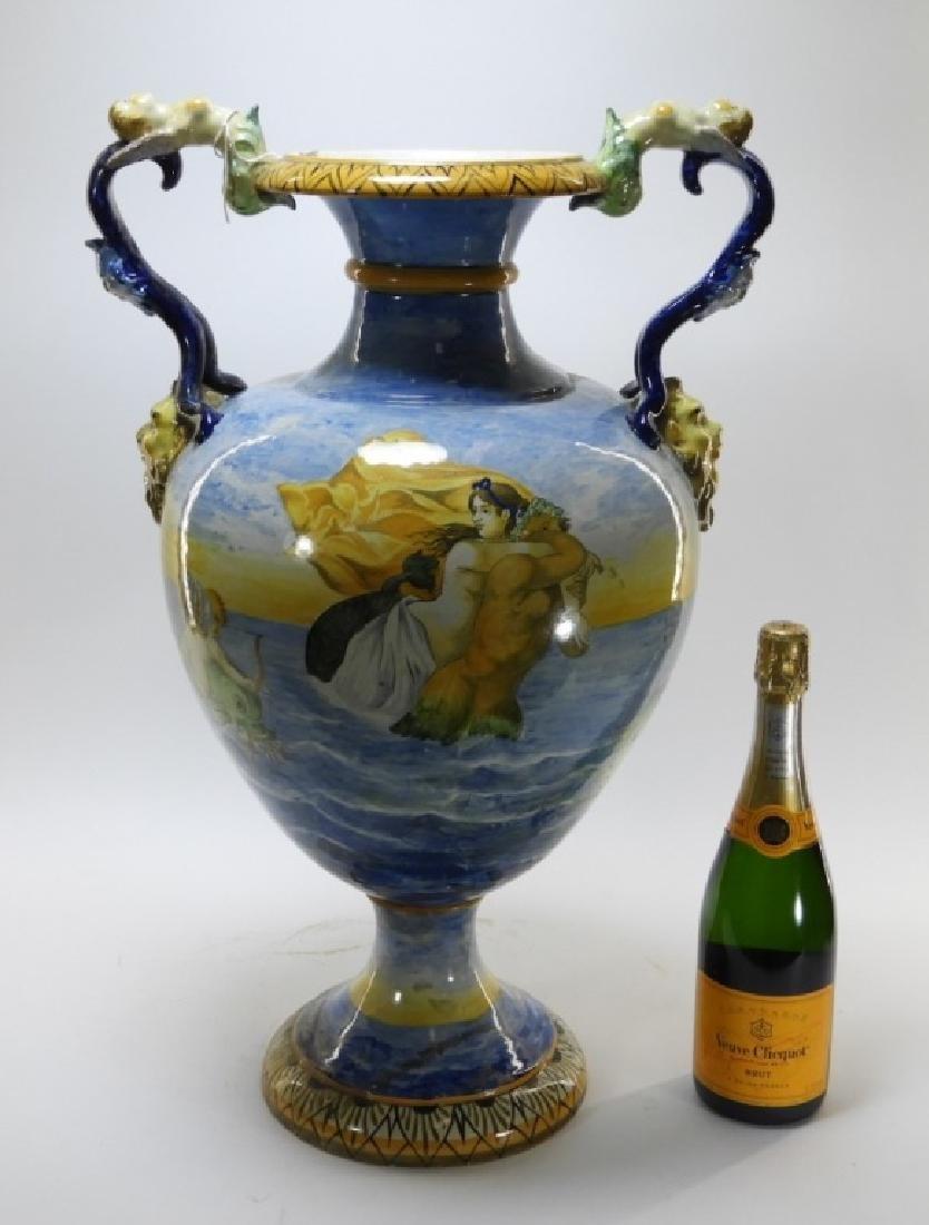 Lg Italian Tin Glaze Faience Majolica Pottery Vase - 10