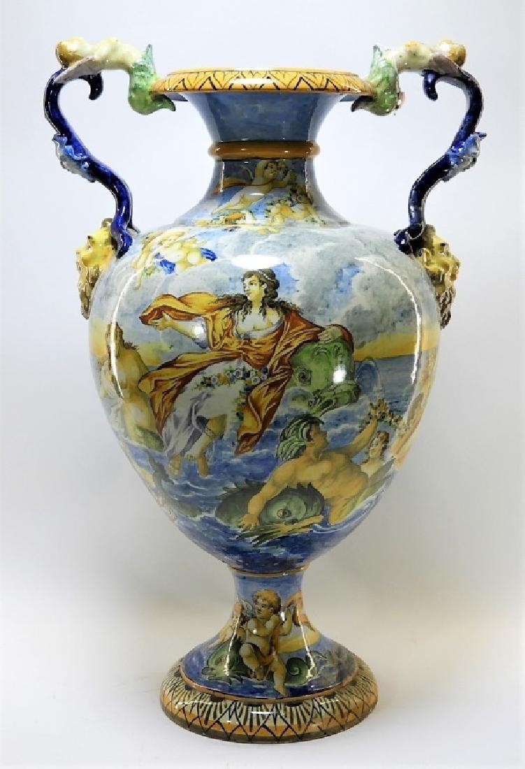 Lg Italian Tin Glaze Faience Majolica Pottery Vase