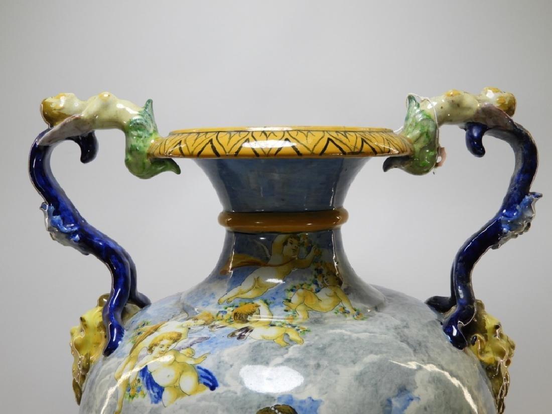 Lg Italian Tin Glaze Faience Majolica Pottery Vase - 2