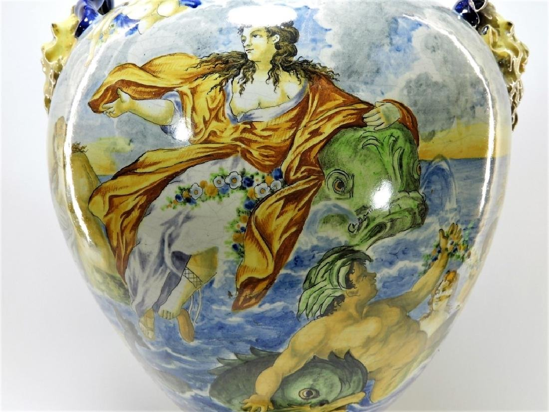 Lg Italian Tin Glaze Faience Majolica Pottery Vase - 3