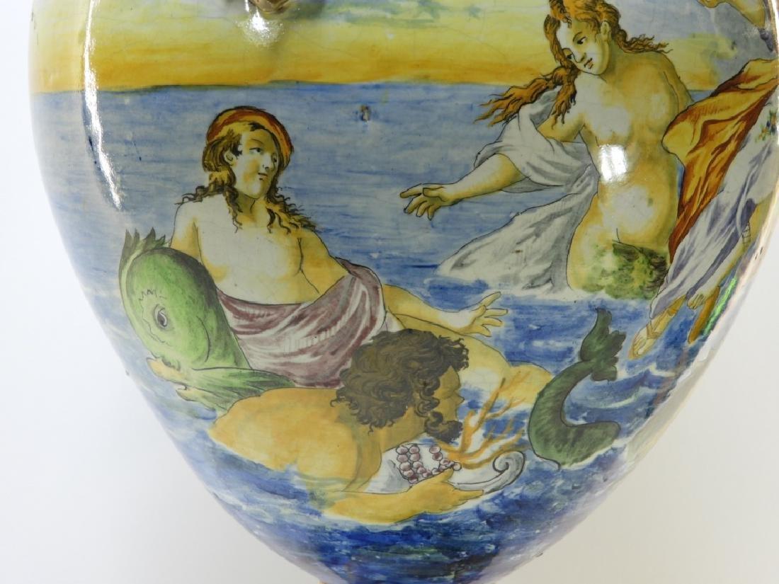 Lg Italian Tin Glaze Faience Majolica Pottery Vase - 4