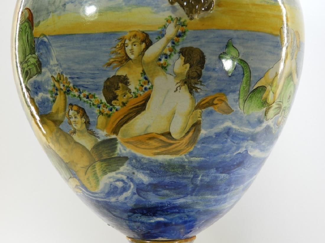 Lg Italian Tin Glaze Faience Majolica Pottery Vase - 5
