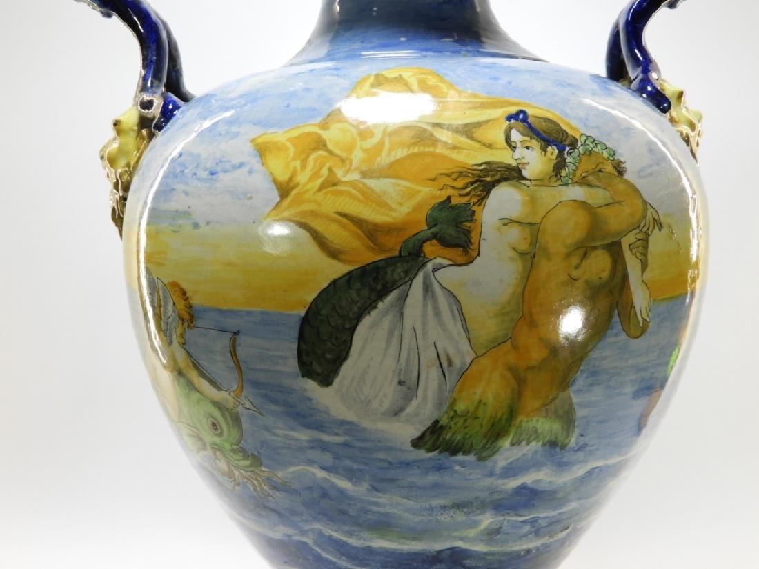 Lg Italian Tin Glaze Faience Majolica Pottery Vase - 7