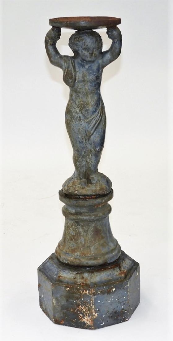 19C. French Blued Cast Iron Figural Bird Bath Base