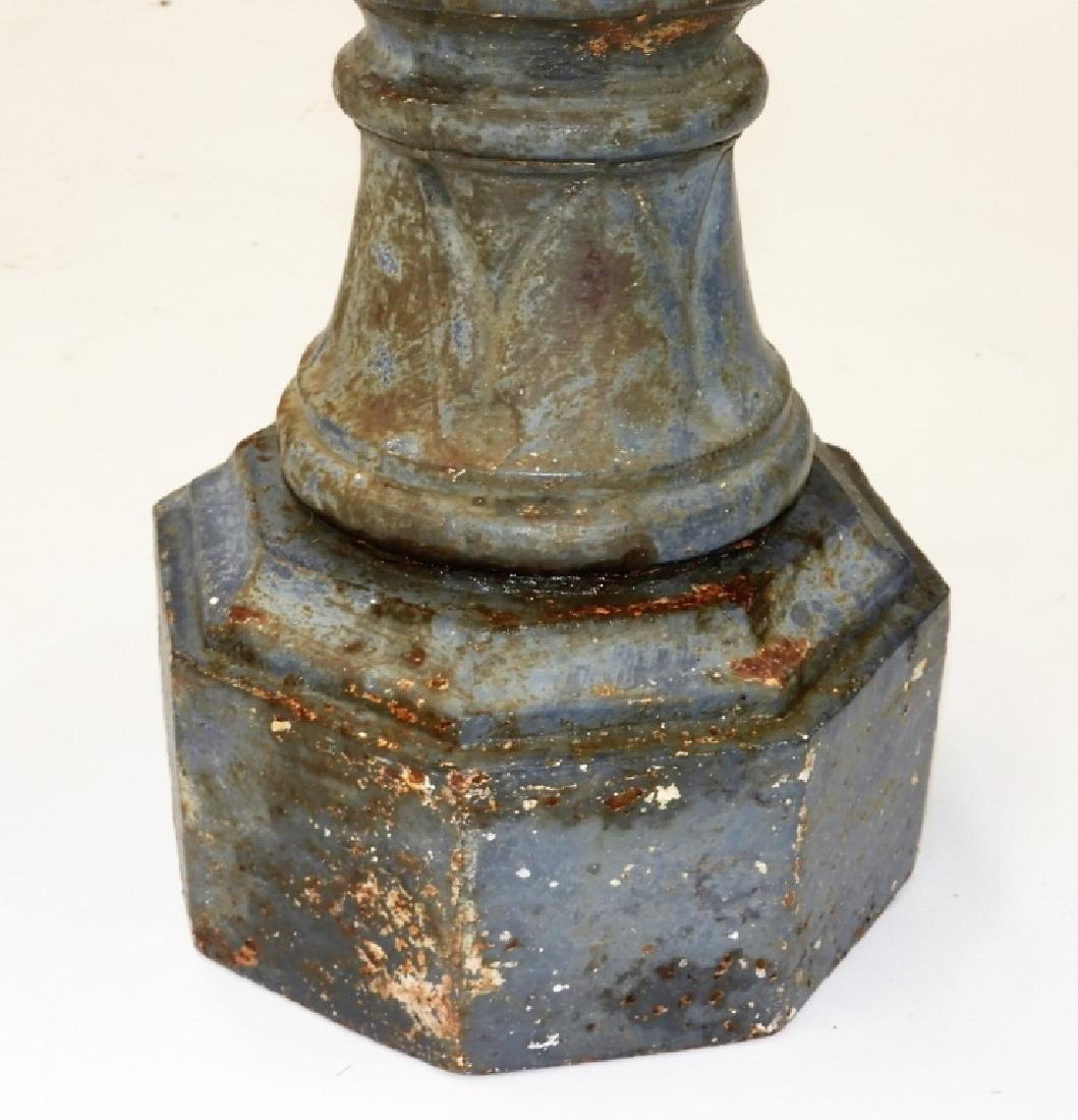 19C. French Blued Cast Iron Figural Bird Bath Base - 4