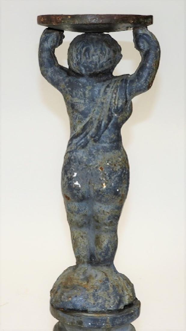 19C. French Blued Cast Iron Figural Bird Bath Base - 5