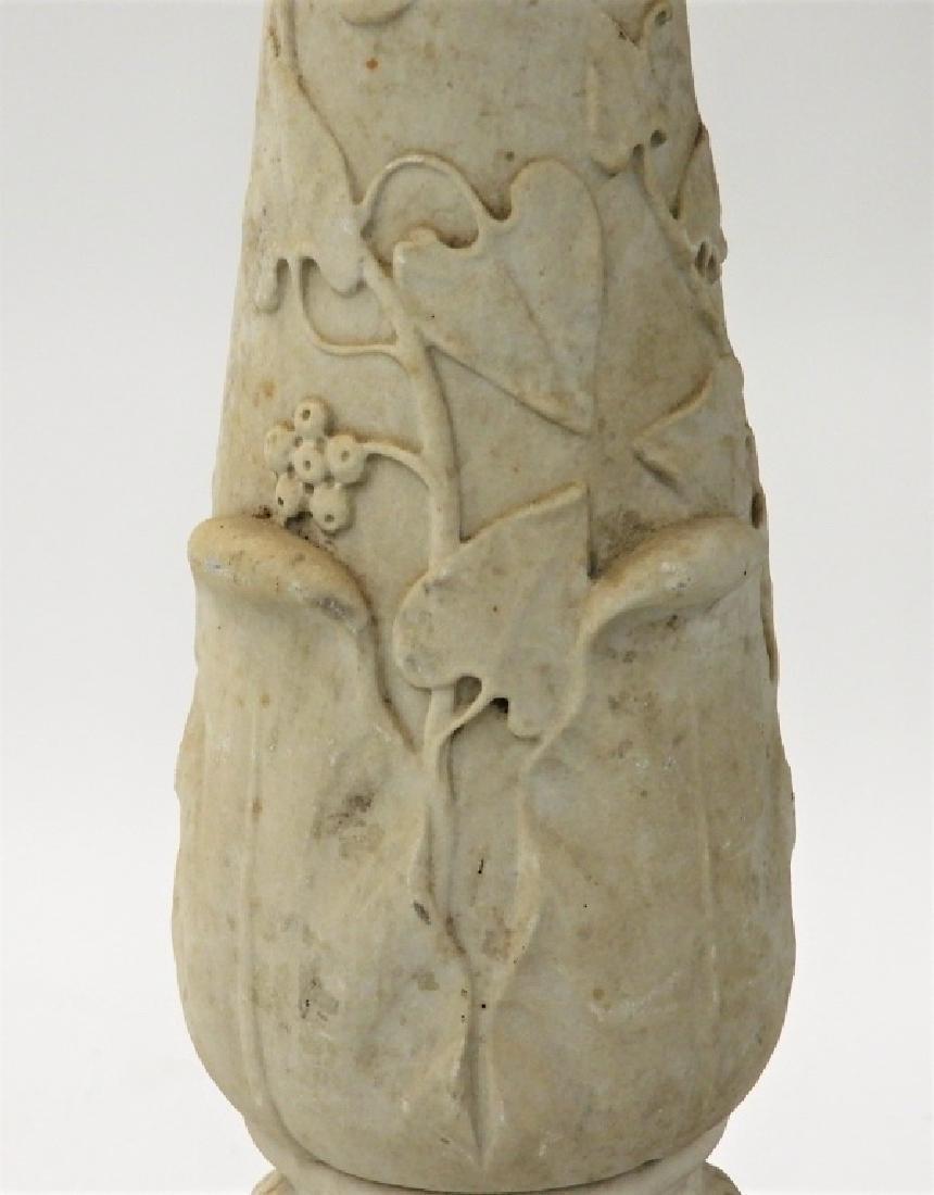 19C. Italian Carrera Marble Figural Lion Bird Bath - 3