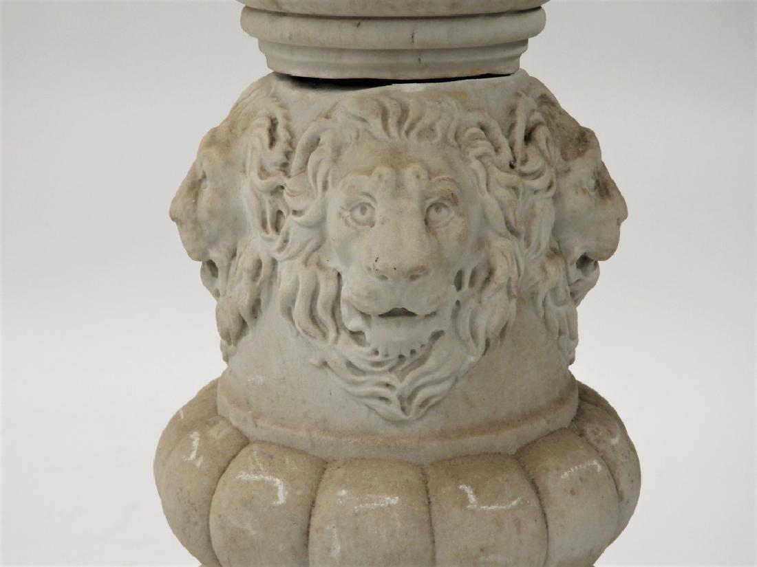 19C. Italian Carrera Marble Figural Lion Bird Bath - 4