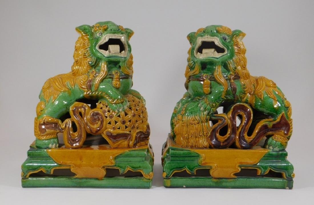 PR Chinese Porcelain Sancai Glaze Foo Lion Figures