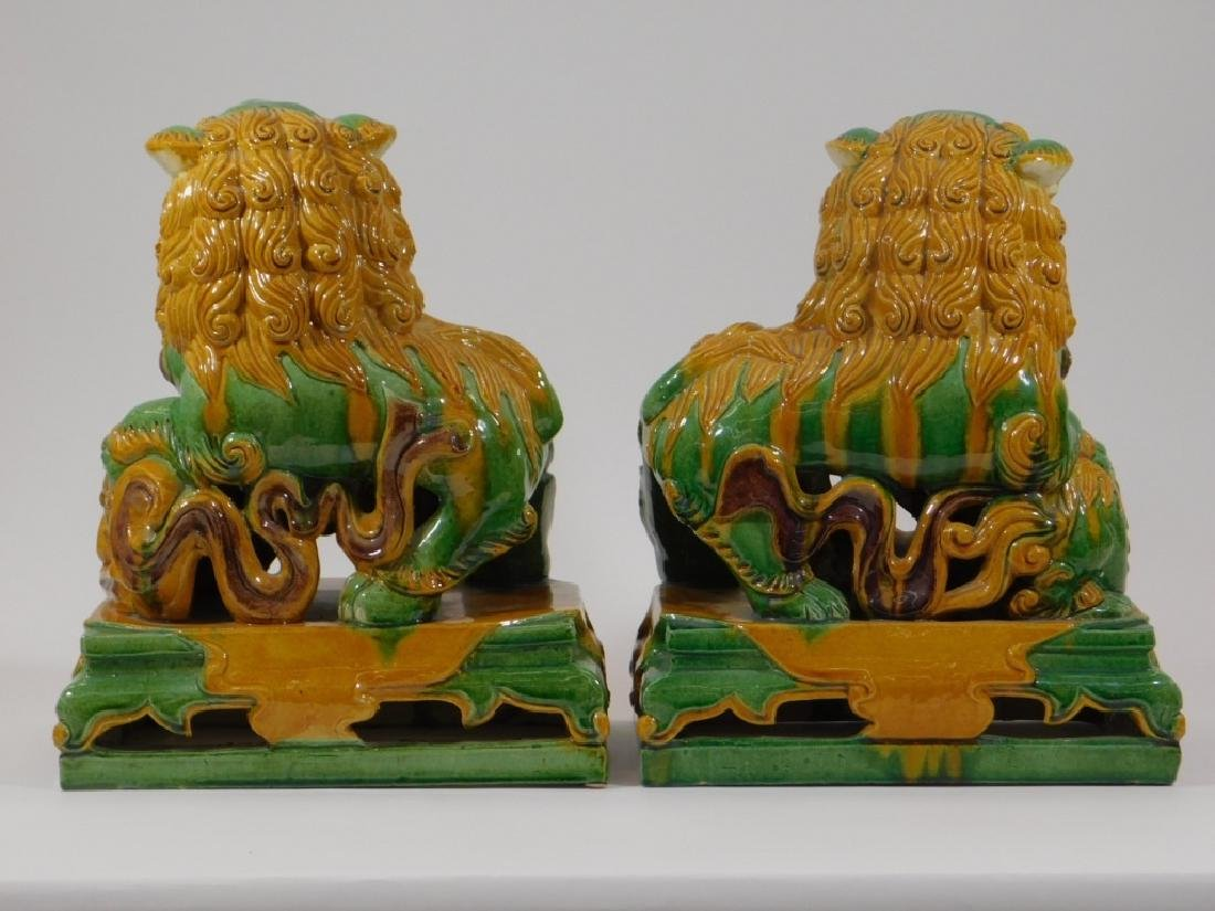 PR Chinese Porcelain Sancai Glaze Foo Lion Figures - 2