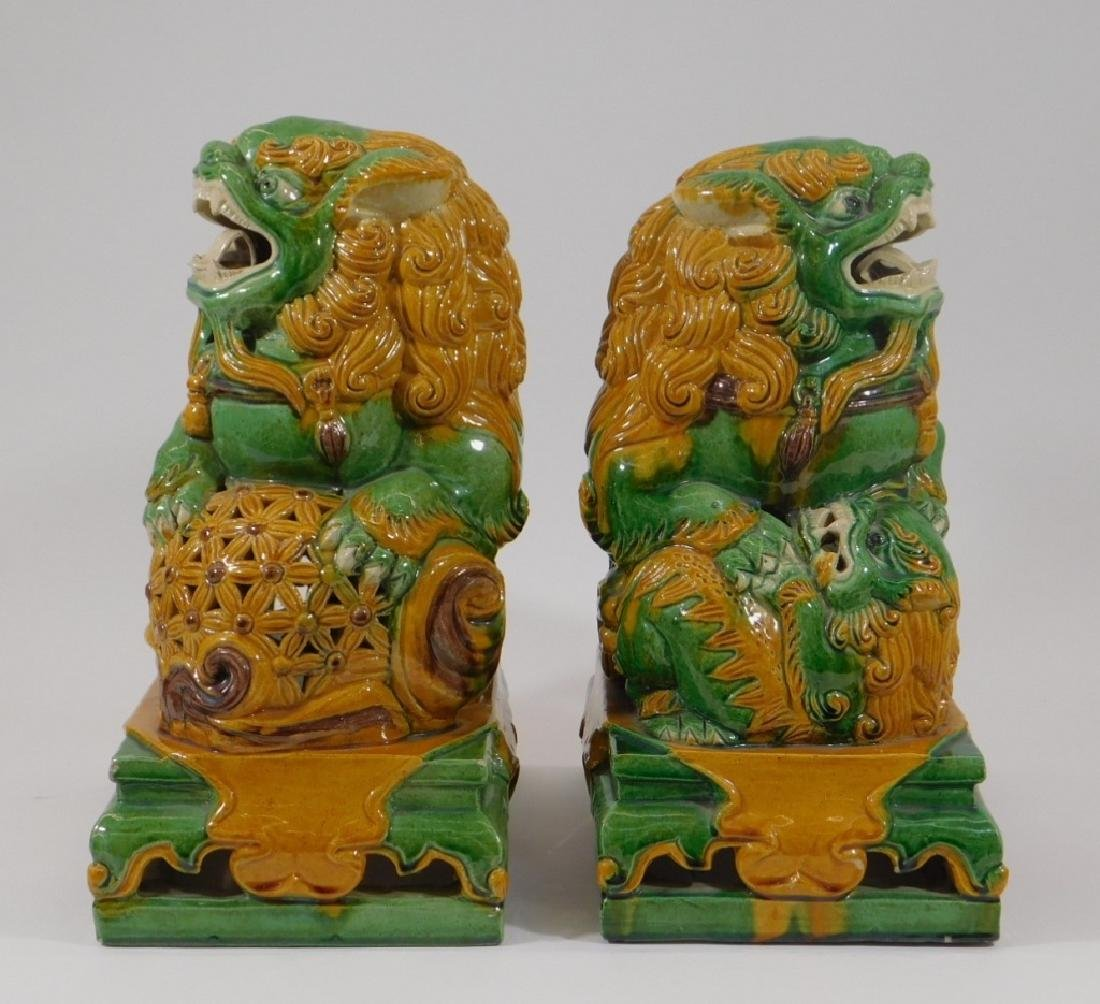 PR Chinese Porcelain Sancai Glaze Foo Lion Figures - 3
