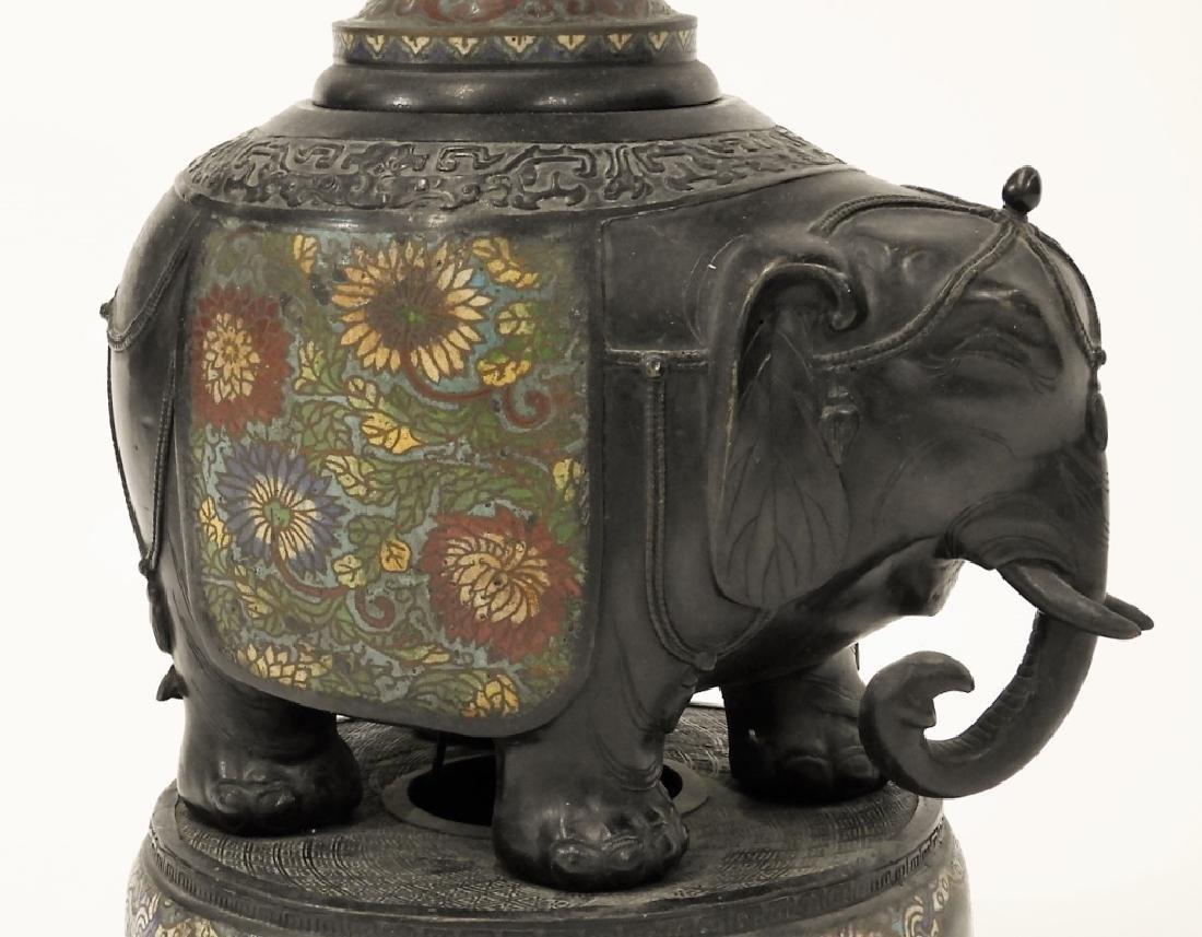 Chinese Cloisonne Bronze Elephant Figural Lamp