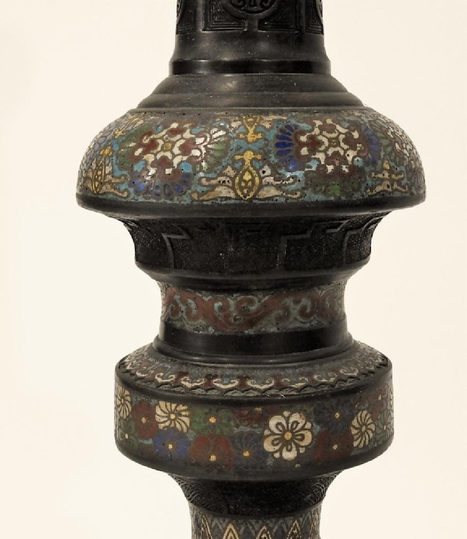 Chinese Cloisonne Bronze Elephant Figural Lamp - 5