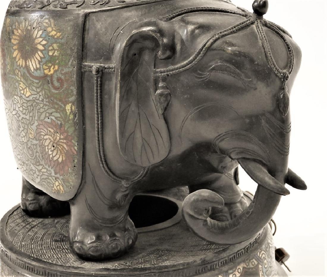 Chinese Cloisonne Bronze Elephant Figural Lamp - 6