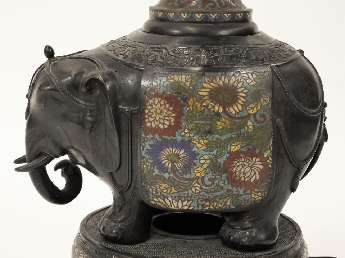 Chinese Cloisonne Bronze Elephant Figural Lamp - 9