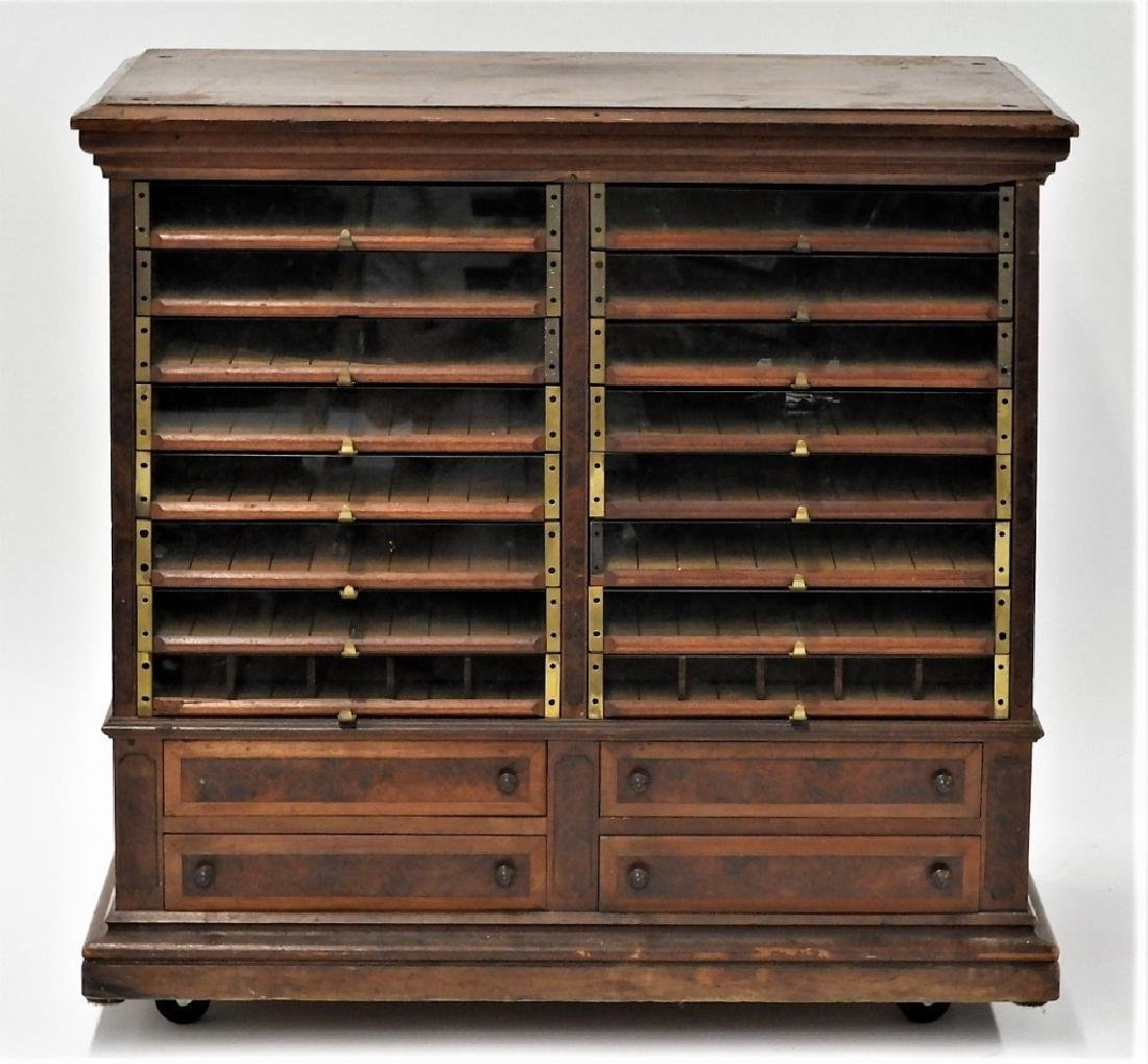 Country Store Glass Door Spool Thread Cabinet