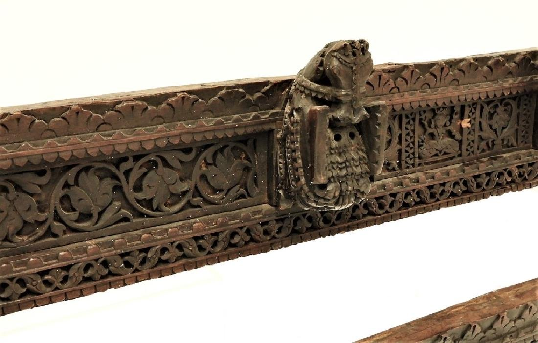 PR 19C Indian Hardwood Figural Architectural Panel - 2