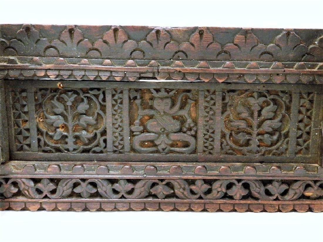 PR 19C Indian Hardwood Figural Architectural Panel - 4