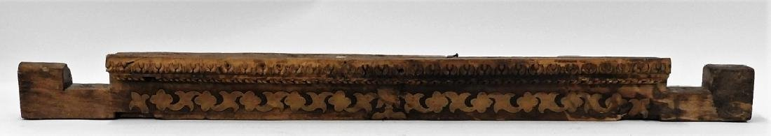 19C. Indian Carved Wood Brass Architectural Lentil