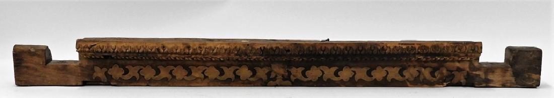 19C. Indian Carved Wood Brass Architectural Lentil