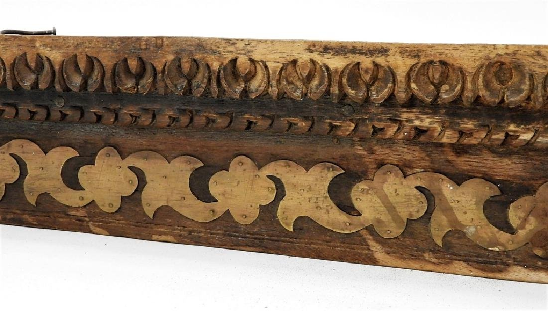 19C. Indian Carved Wood Brass Architectural Lentil - 3