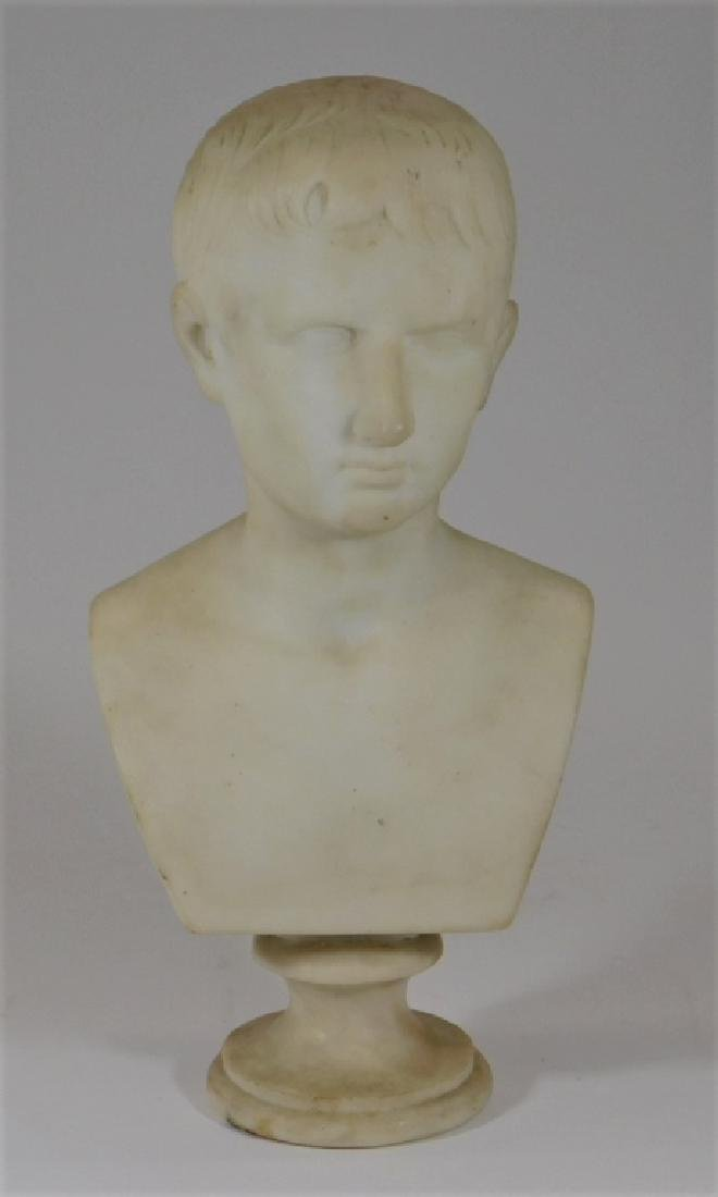 19C. Italian Grand Tour Young Augustus Marble Bust