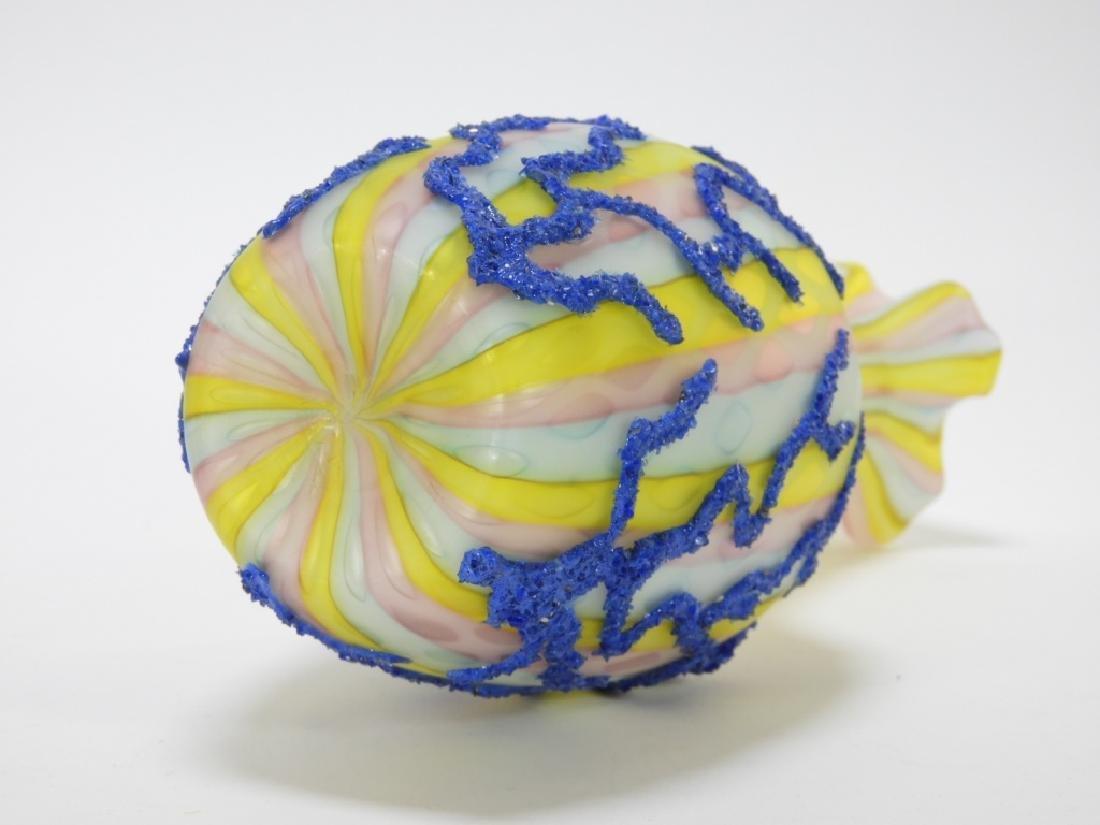 Diamond Quilted Coralene Rainbow Satin Glass Vase - 6