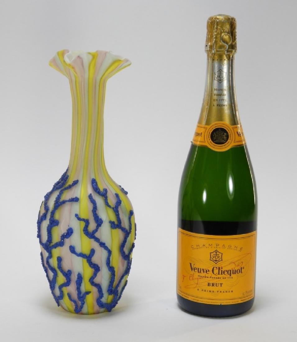 Diamond Quilted Coralene Rainbow Satin Glass Vase - 7