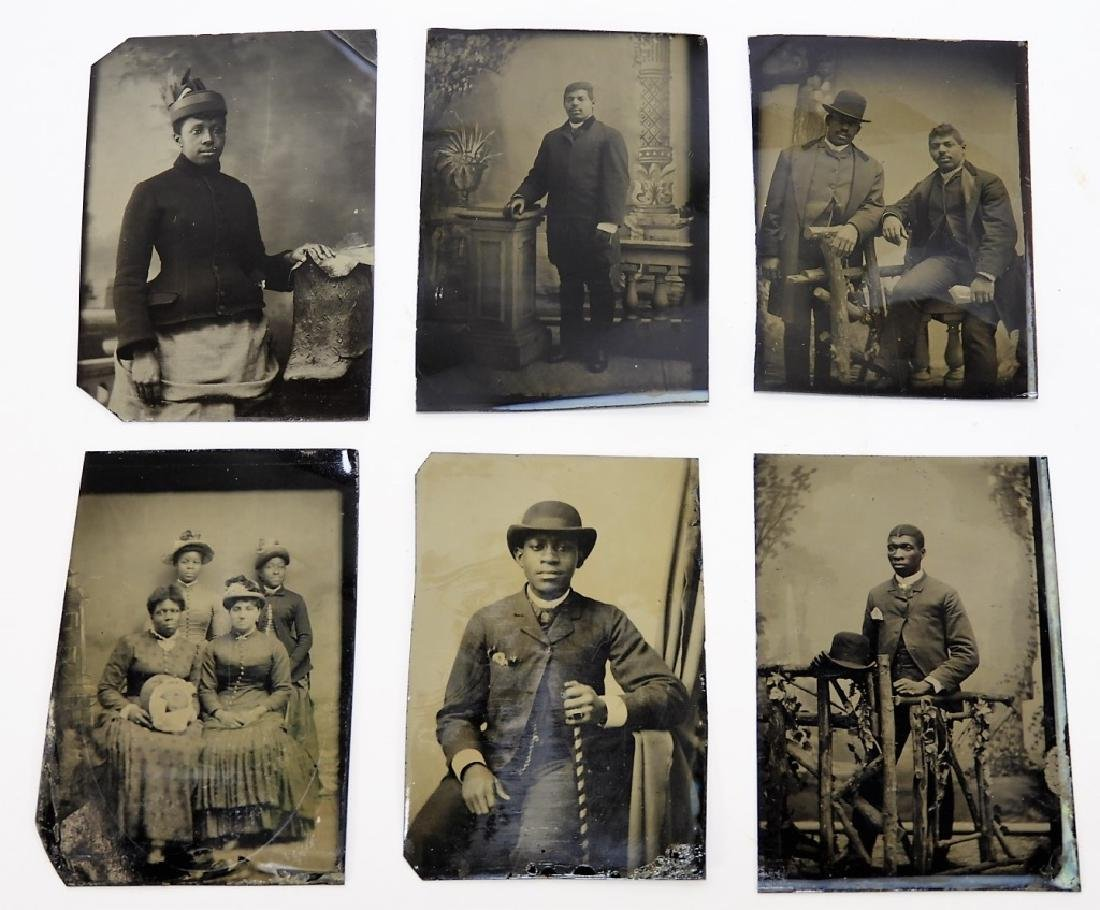 6 19C. Black Americana Tintype Photographs
