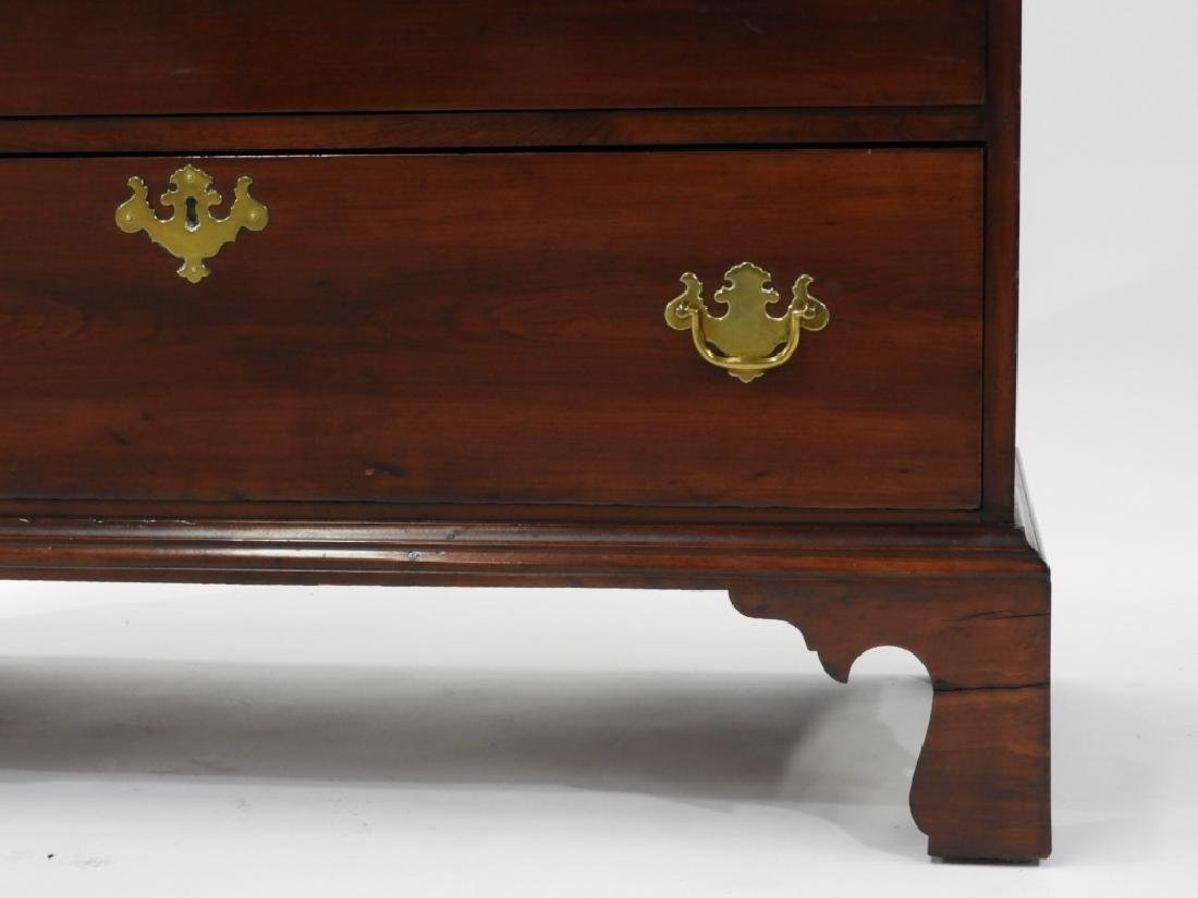 18C Boston Chippendale Cherry Four Draw Chest - 3