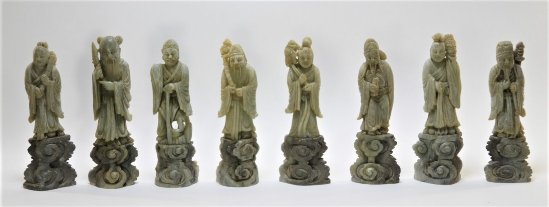 8 Chinese Carved Soapstone Immortal Deity Figures