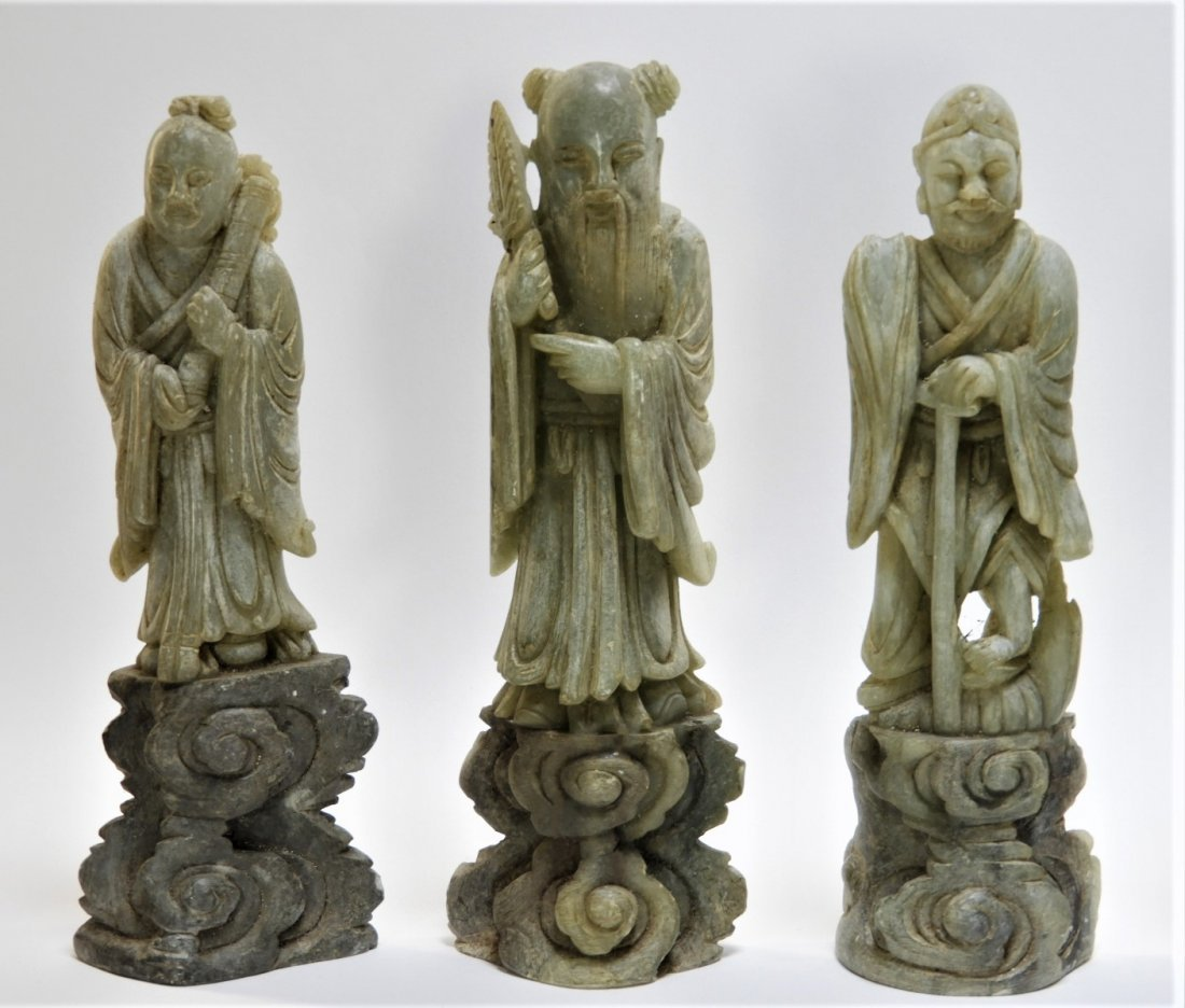 8 Chinese Carved Soapstone Immortal Deity Figures - 2