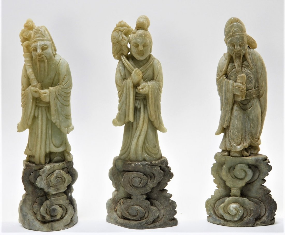 8 Chinese Carved Soapstone Immortal Deity Figures - 3