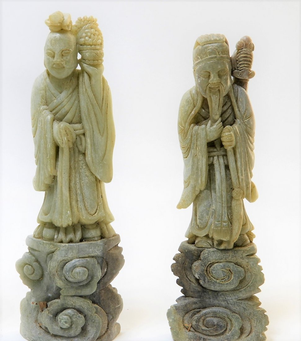 8 Chinese Carved Soapstone Immortal Deity Figures - 4