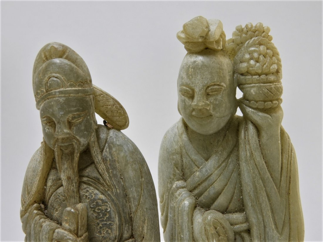 8 Chinese Carved Soapstone Immortal Deity Figures - 5