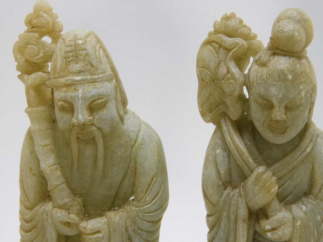 8 Chinese Carved Soapstone Immortal Deity Figures - 6