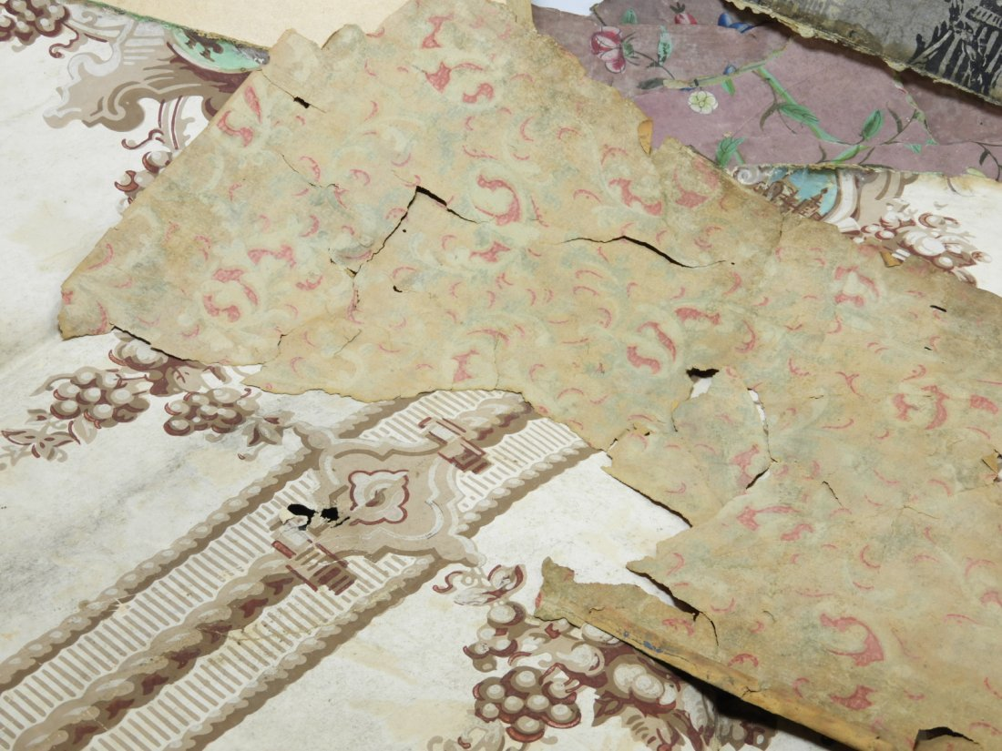 Colonial Newport RI Painted Wallpaper Fragments - 4