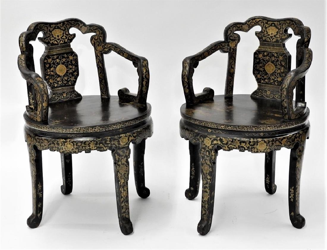 FINE PR 19C Chinese Export Gilt Lacquer Arm Chairs