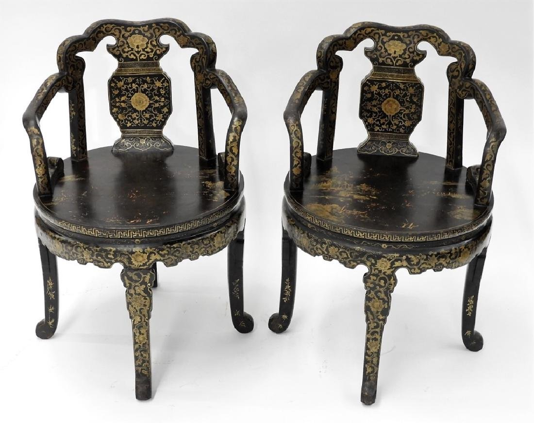 FINE PR 19C Chinese Export Gilt Lacquer Arm Chairs - 2