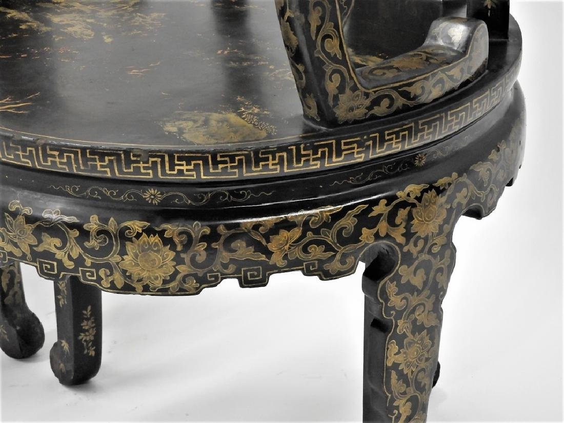 FINE PR 19C Chinese Export Gilt Lacquer Arm Chairs - 6