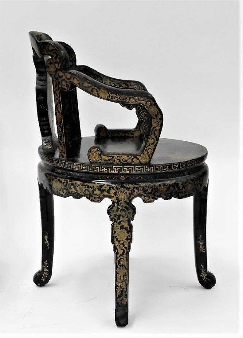 FINE PR 19C Chinese Export Gilt Lacquer Arm Chairs - 8