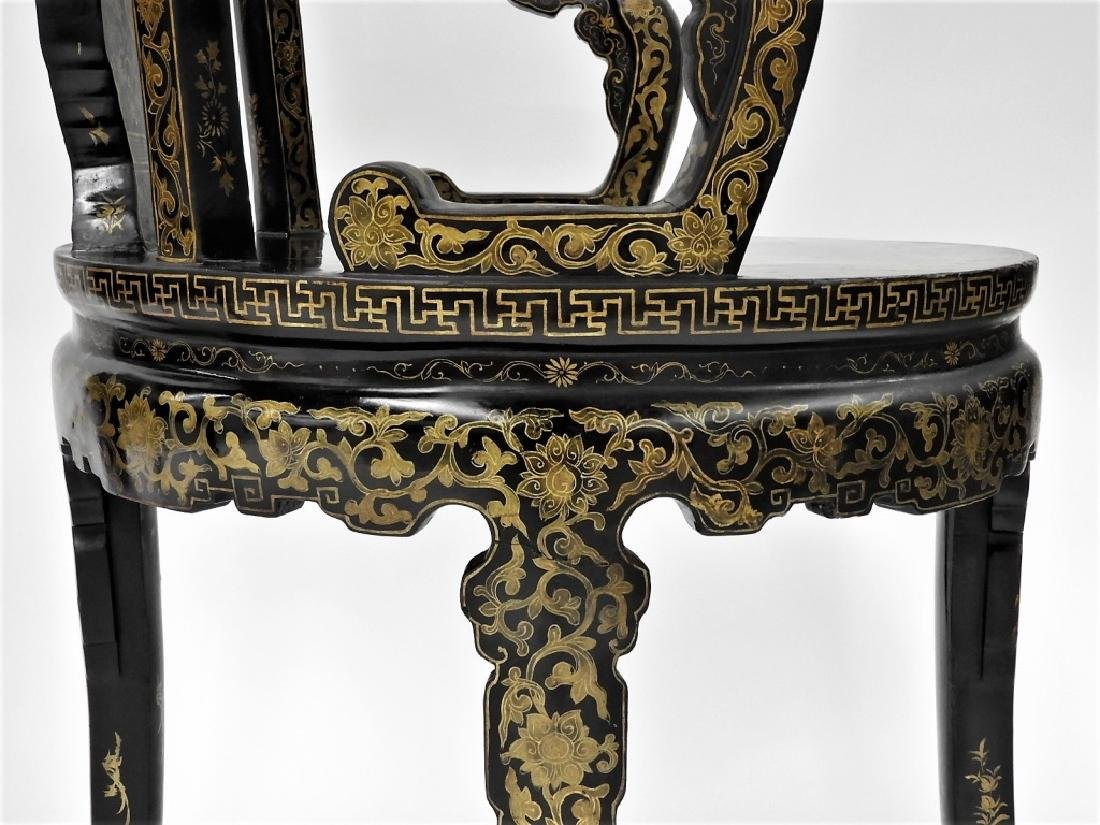 FINE PR 19C Chinese Export Gilt Lacquer Arm Chairs - 9